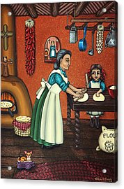 The Lesson Or Making Tortillas Acrylic Print by Victoria De Almeida