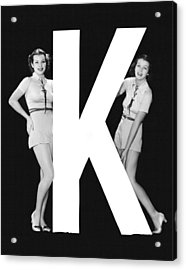 The Letter k  And Two Women Acrylic Print by Underwood Archives