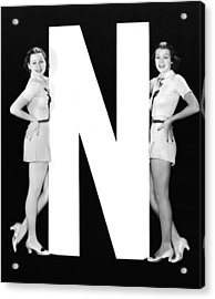 The Letter n  And Two Women Acrylic Print by Underwood Archives