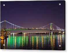 The Lighted Ben Franklin Bridge Acrylic Print by Bill Cannon