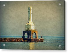 The Lighthouse And The Fisherman Acrylic Print by Mary Machare