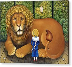 The Lion And Albert, 2001 Acrylic Print by Frances Broomfield