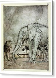The Lion, Jupiter And The Elephant, Illustration From Aesops Fables, Published By Heinemann, 1912 Acrylic Print by Arthur Rackham