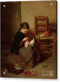 The Little Dressmaker Acrylic Print by Pierre Edouard Frere