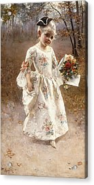 The Little Flower Girl  Acrylic Print by Albert Raudnitz