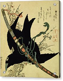 The Little Raven With The Minamoto Clan Sword Acrylic Print by Katsushika Hokusai