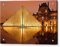 The Louvre By Night Acrylic Print by Ayse Deniz
