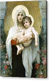 The Madonna Of The Roses Acrylic Print by William Bouguereau