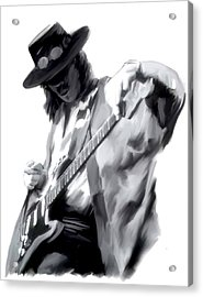 The Maestro   Stevie Ray Vaughan Acrylic Print by Iconic Images Art Gallery David Pucciarelli