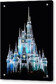 The Magic Kingdom Castle In Frosty Light Blue Walt Disney World Acrylic Print by Thomas Woolworth