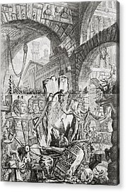 The Man On The Rack Plate II From Carceri D'invenzione Acrylic Print by Giovanni Battista Piranesi