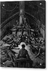 The Mariner Gazes On His Dead Companions And Laments The Curse Of His Survival While All His Fellow  Acrylic Print by Gustave Dore