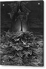 The Mariner Gazes On The Ocean And Laments His Survival While All His Fellow Sailors Have Died Acrylic Print by Gustave Dore