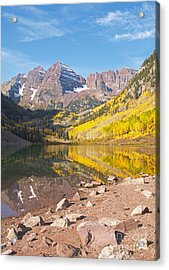The Maroon Bells Near Aspen Colorado Acrylic Print by Alex Cassels