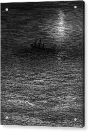 The Marooned Ship In A Moonlit Sea Acrylic Print by Gustave Dore