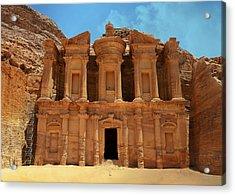 The Monastery At Petra Acrylic Print by Stephen Stookey