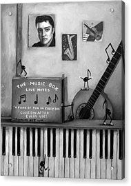 The Music Box Bw Acrylic Print by Leah Saulnier The Painting Maniac