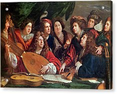 The Musical Society, 1688 Oil On Canvas Acrylic Print by Francois Puget