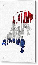 The Netherlands Typographic Map Flag Acrylic Print by Ayse Deniz