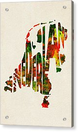 The Netherlands Typographic Watercolor Map Acrylic Print by Ayse Deniz