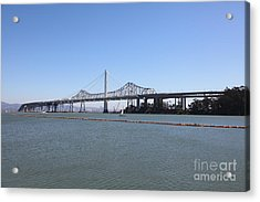 The New And The Old Bay Bridge San Francisco Oakland California 5d25359 Acrylic Print by Wingsdomain Art and Photography