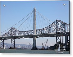 The New And The Old Bay Bridge San Francisco Oakland California 5d25361 Acrylic Print by Wingsdomain Art and Photography