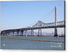 The New And The Old Bay Bridge San Francisco Oakland California 5d25364 Acrylic Print by Wingsdomain Art and Photography