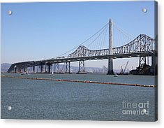 The New And The Old Bay Bridge San Francisco Oakland California 5d25365 Acrylic Print by Wingsdomain Art and Photography