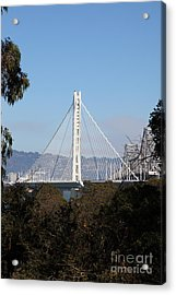 The New And The Old Bay Bridge San Francisco Oakland California 5d25397 Acrylic Print by Wingsdomain Art and Photography