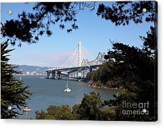 The New And The Old Bay Bridge San Francisco Oakland California 5d25404 Acrylic Print by Wingsdomain Art and Photography