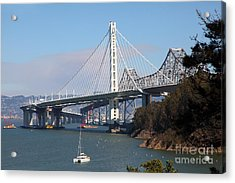The New And The Old Bay Bridge San Francisco Oakland California 5d25405 Acrylic Print by Wingsdomain Art and Photography