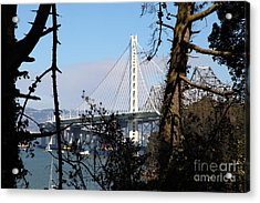 The New And The Old Bay Bridge San Francisco Oakland California 5d25415 Acrylic Print by Wingsdomain Art and Photography