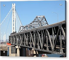 The New And The Old Bay Bridge San Francisco Oakland California 5d25429 Acrylic Print by Wingsdomain Art and Photography