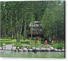 The Old Lawg Caybun On Lake Joe Acrylic Print by Kenneth M  Kirsch