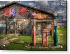 The Old Service Station Acrylic Print by David and Carol Kelly