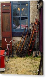 The Old Sleds Acrylic Print by Mary Machare