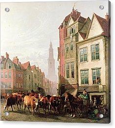 The Old Smithfield Market Acrylic Print by Thomas Sidney Cooper
