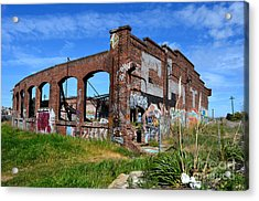 The Old Train Roundhouse At Bayshore Near San Francisco And The Cow Palace Acrylic Print by Jim Fitzpatrick