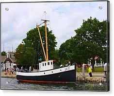 The Old Tugboat At Mystic Acrylic Print by Dora Sofia Caputo Photographic Art and Design