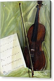 The Old Violin Acrylic Print by Sharon Burger