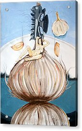 The Onion Maiden And Her Hair La Doncella Cebolla Y Su Cabello Acrylic Print by Lazaro Hurtado