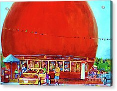 The Orange Julep Montreal Summer City Scene Acrylic Print by Carole Spandau