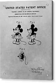 The Original Mickey Mouse Patent Design Acrylic Print by Dan Sproul
