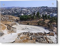 The Oval Plaza At Jerash In Jordan Acrylic Print by Robert Preston
