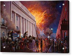The Pantechnicon Fire. 1874. Acrylic Print by Mike  Jeffries