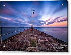 The Pier At Sun Rise Acrylic Print by John Farnan
