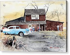 The Pig Stand Acrylic Print by Monte Toon