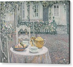 The Pink Tablecloth Acrylic Print by Henri Eugene Augustin Le Sidaner