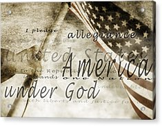 The Pledge Of Allegiance And An Acrylic Print by Chris and Kate Knorr