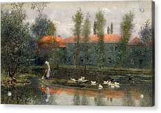 The Pond Of William Morris Works Acrylic Print by Lexden L. Pocock